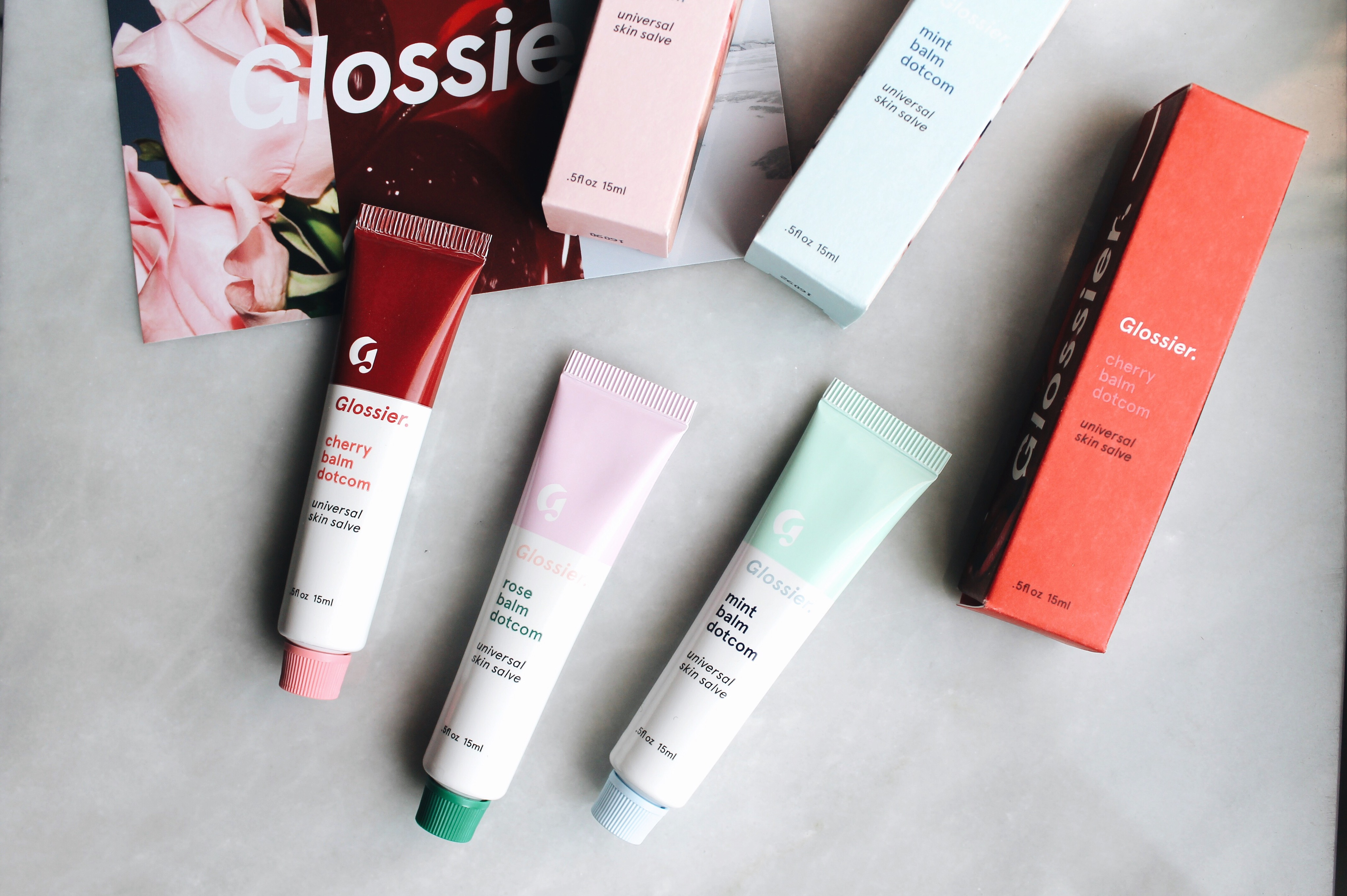 Glossier Flavored Balm DotComs in Cherry, Rose & Mint Review + Swatches, Glossier, Balm DotCom, Glossier Review, Skin Salve, Glossier Balm DotCom Cherry, Balm DotCom Mint, Balm DotCom Rose, Balm DotCom Coconut