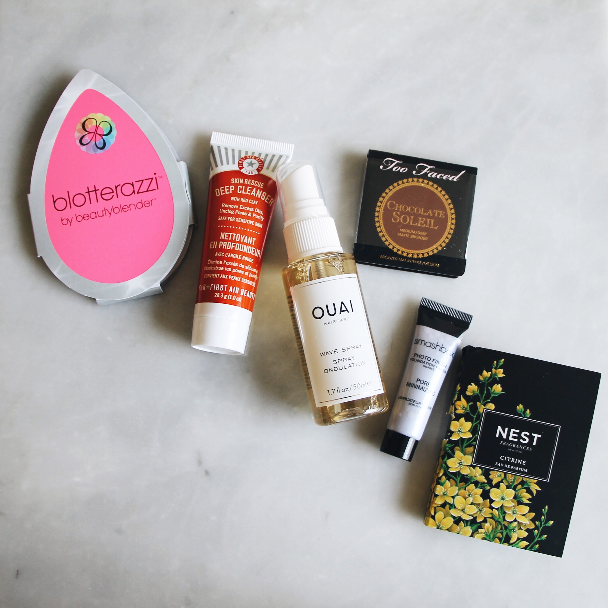 July 2016 Play! By Sephora Subscription Box Reveal, Sephora Play Box, Play by Sephora, Sephora Subscription Box, July 16 Sephora Play Box, Ouai Sample, Ouai Haircare, Nest Fragrance, First Aid Beauty, Beautyblender, Too Faced, Smashbox