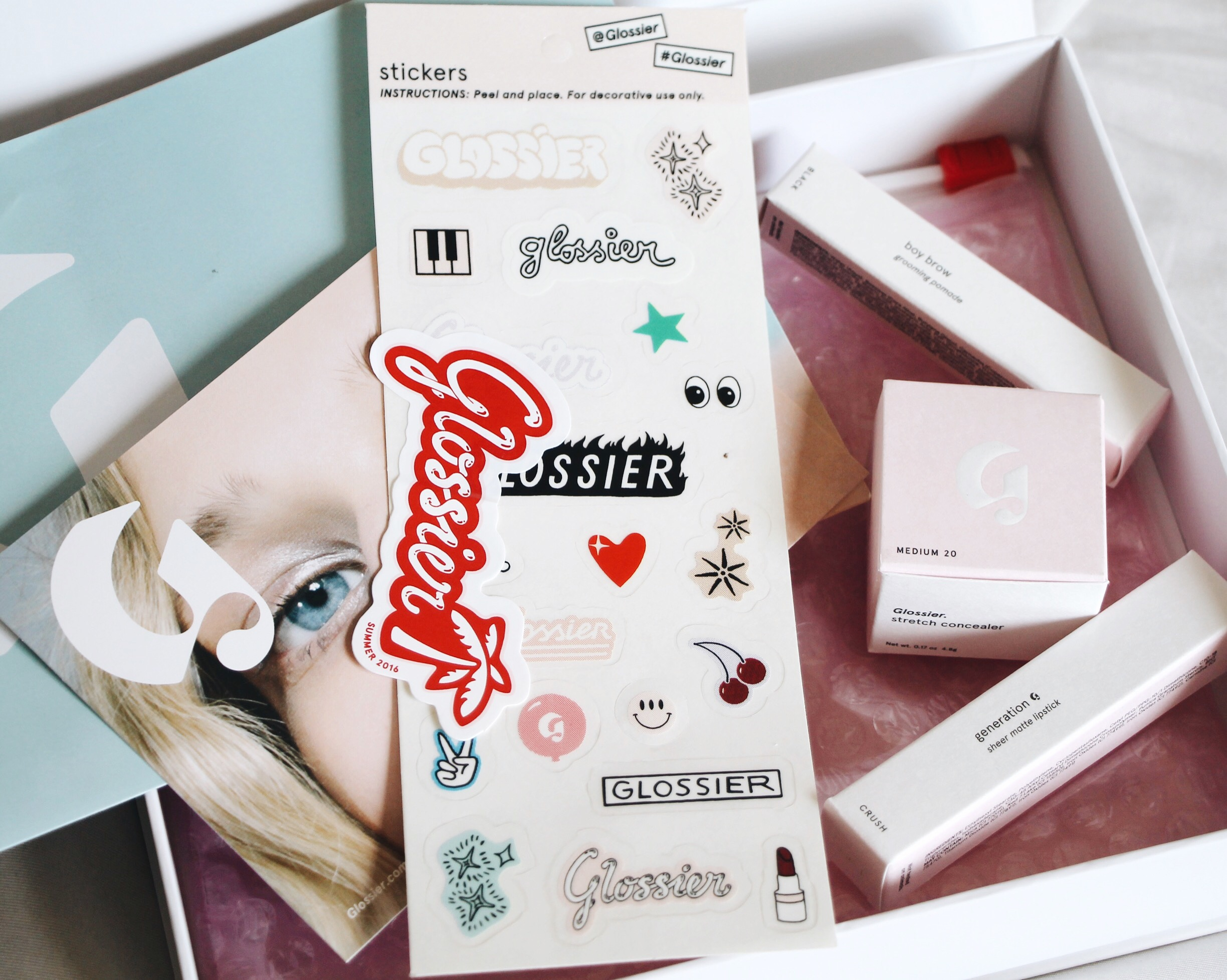 Glossier Phase 2 Set Review + Unboxing, Glossier Phase 2 Set, Glossier, Glossier Makeup, Stretch Concealer, Generation G Lipstick, Boy Brow, Unboxing, Glossier Package, Glossier Packaging, Glossier Branding, Glossier Unboxing