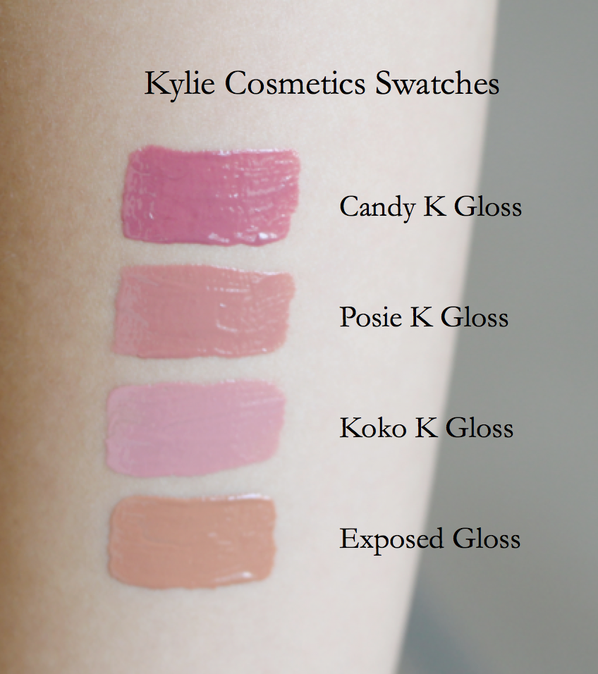 Kylie Posie K, Candy K, Koko K & Exposed Gloss Swatches, Posie K Gloss, Candy K Gloss, Koko K Gloss, Exposed Gloss, Posie K Gloss Swatch, Candy K Gloss Swatch, Koko K Gloss Swatch, Exposed Gloss Swatch, Kylie Swatches, Kylie Gloss Swatches, Kylie Gloss Review, Kylie Cosmetics Glosses, Kylie Cosmetics Glosses Swatches, Kylie Gloss Swatches