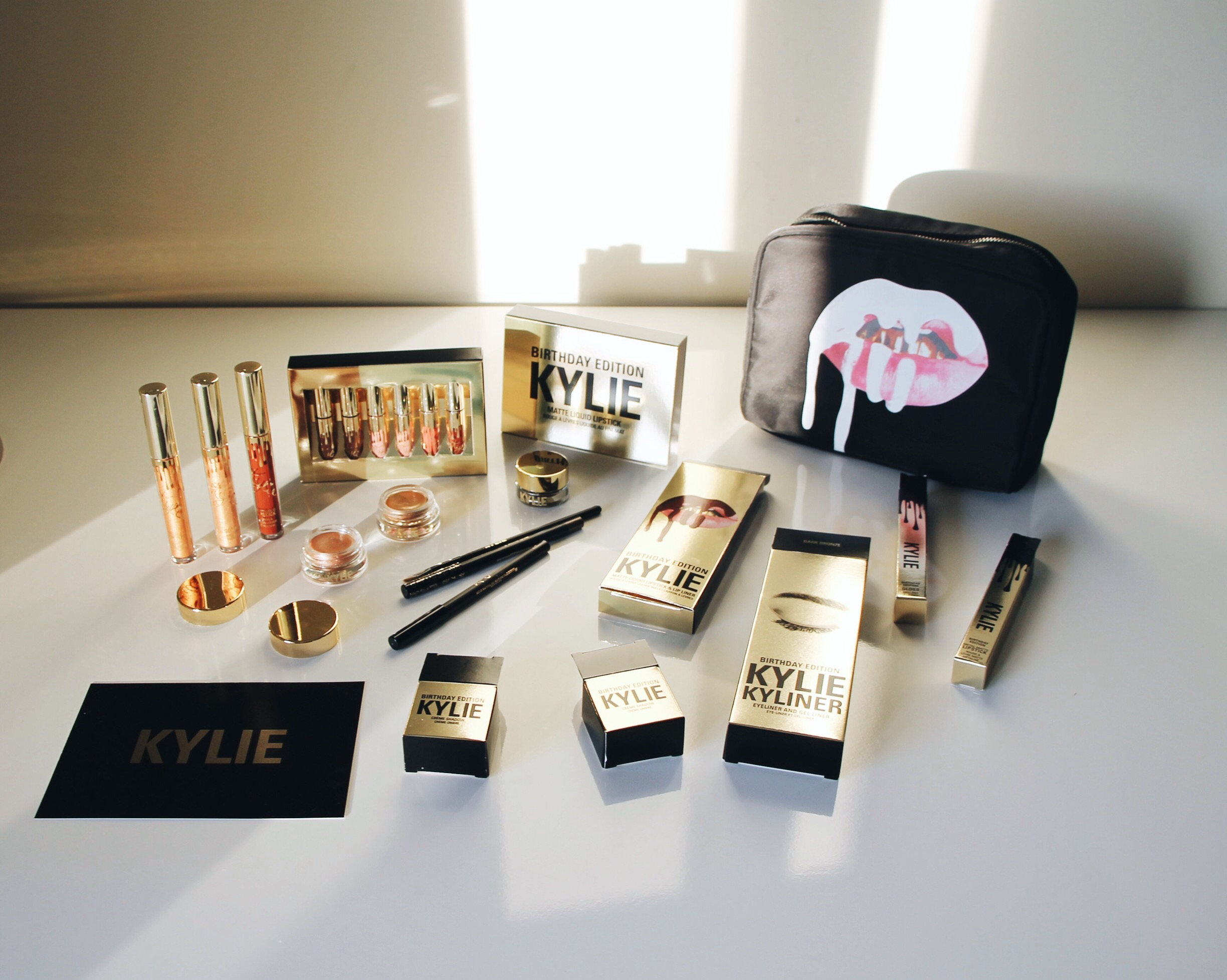 Kylie Cosmetics Birthday Collection, Kylie Cosmetics, Kylie Lipkit, Kylie Jenner, Kylie Cosmetics Mini Mattes, Kylie Cosmetics Mini Matte Kit, Leo Lip Kit, Poppin Gloss, Lord Metal Matte, Kylie Cosmetics Cream Shadows, Bronze Kyliner