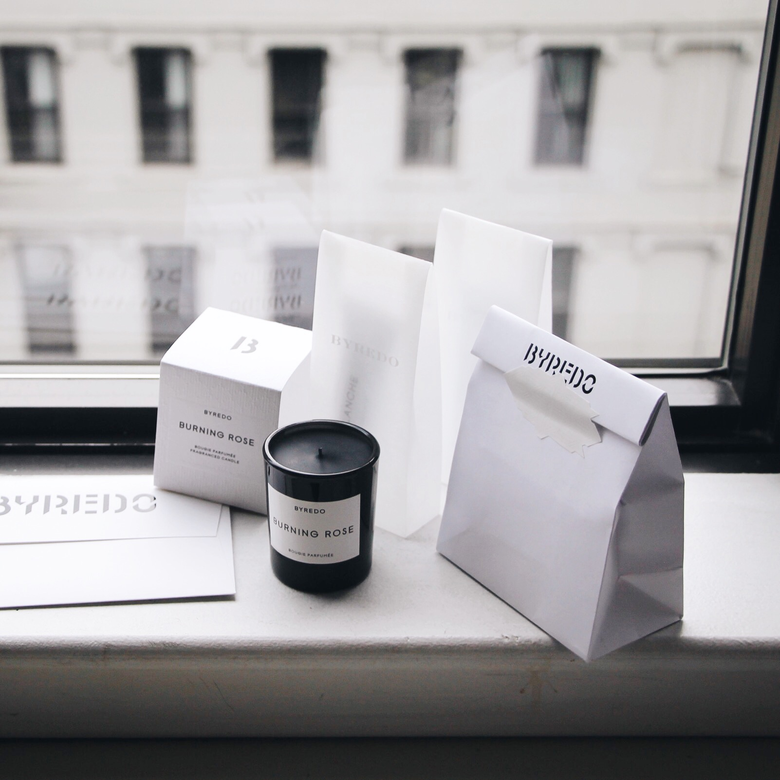 Byredo Gift Bag, Byredo, Byredo 10th Anniversary party, Burning Rose Sample, Byredo Samples, Byredo Hand Cream