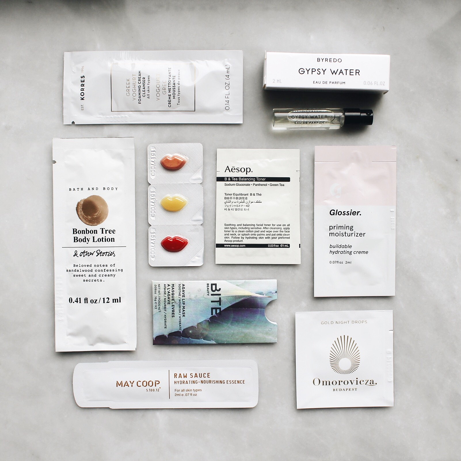 Beauty Samples With The Best Packaging, Glossier Samples, Bite Beauty Samples, Makeup Samples, Korres Samples, And Other Stores Samples, Omorovicza Samples, May Coop Samples, Aesop Samples, Byredo Samples