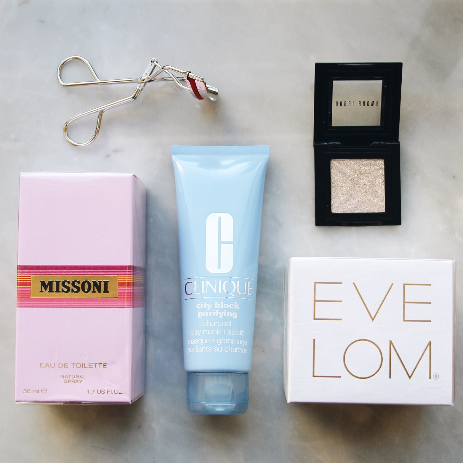 RAN Bonus Box: Bloomingdale's Beauty, Rakuten Affiliate Network, Eve Lom Cleanser, Kevyn Aucoin Eyelash Curler, Bobbi Brown Sparkle Eye Shadow, Missoni Fragrance, Clinique City Block Charcoal Mask and Scrub