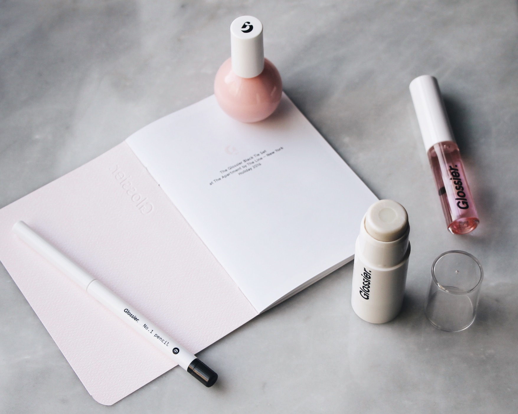 Glossier Black Tie Set, Glossier Black Tie Set Review Glossier, Black Tie Set, Limited Edition Black Tie Set, Glossier Holiday 2016, Glossier Limited Edition, Haloscope in Moonstone, Glossier Pink, Glossier Nail Polish, Glossier Eyeliner, Glossier Lip Gloss