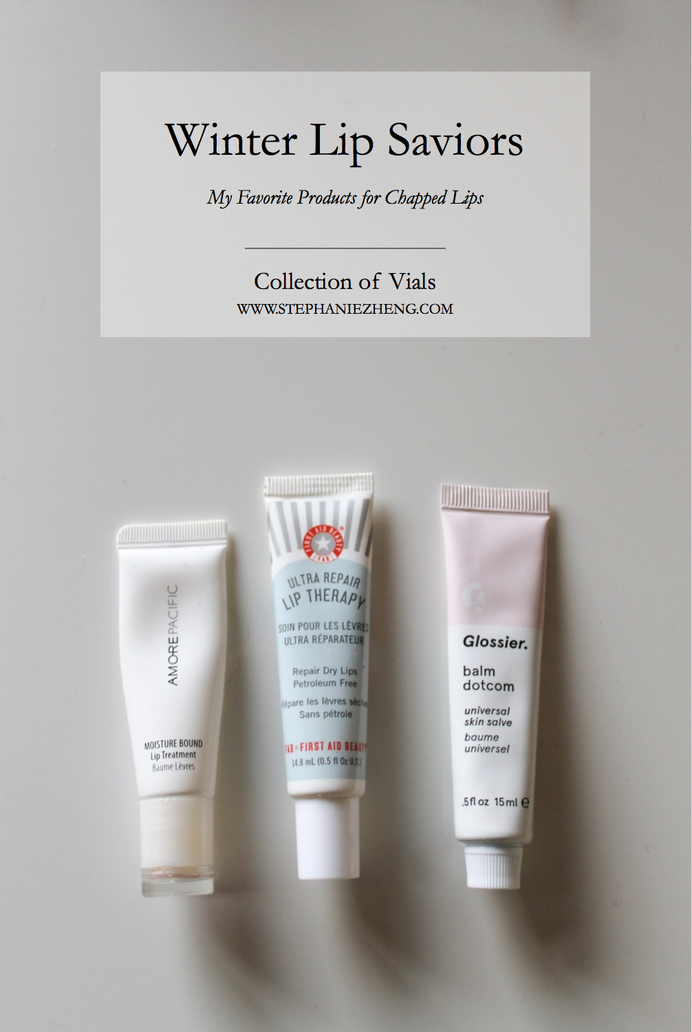 Winter Lip Saviors, AmorePacific, Amore Pacific Lip Treatment, Glossier, Glossier Balm DotCom, Balm Dot Com, Chapped Lip Solutions, First Aid Beauty