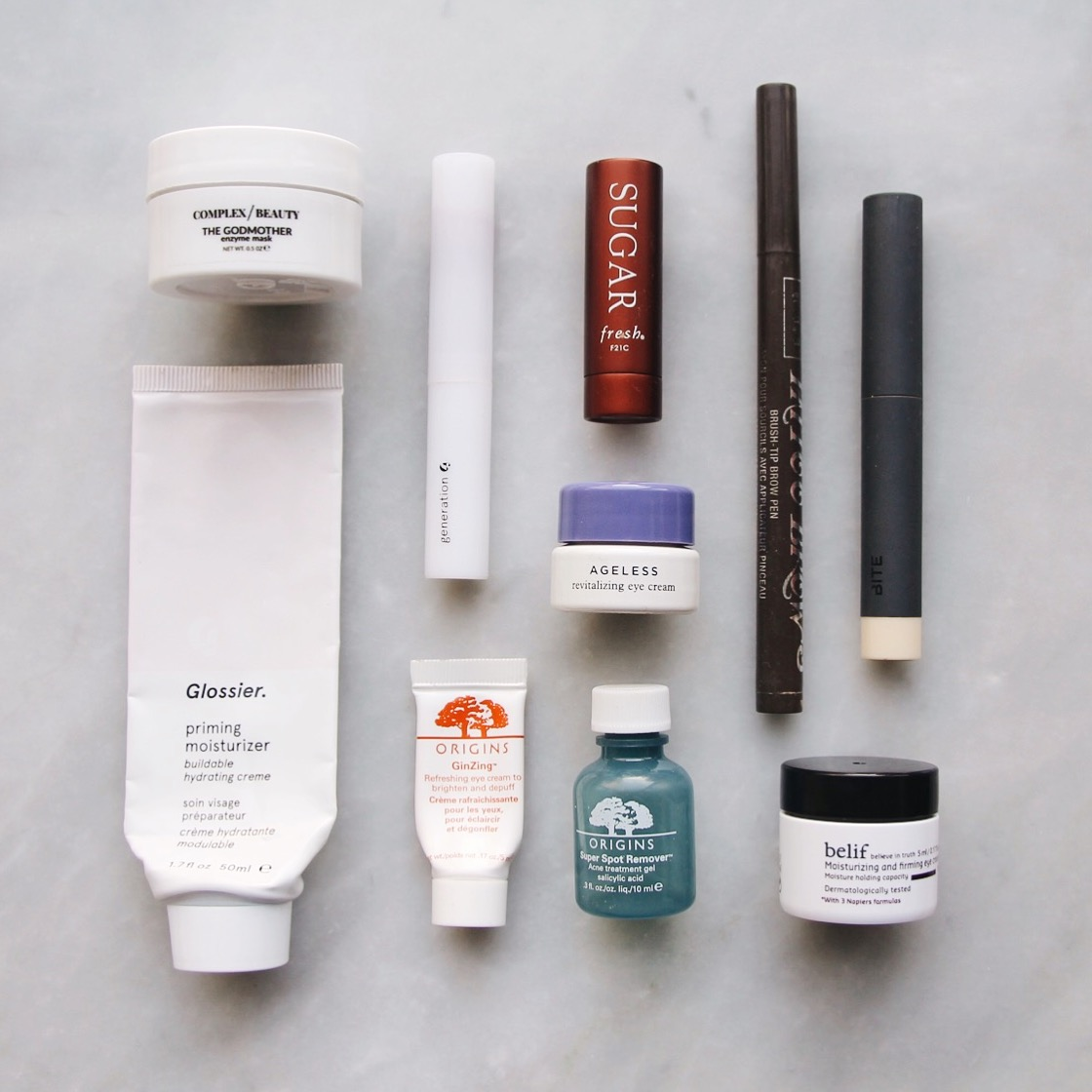 Products I've Finished: Empties, empties, finished products, empty beauty products, products I've finished, glossier, complex beauty co, origins, belif, bite beauty, anastasia beverly hills, fresh sugar lips, tatcha