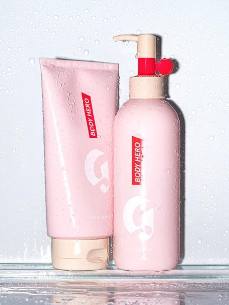 Glossier Body Hero, Glossier, Glossier Body Lotion, Body Hero Daily Oil Wash, Body Hero Daily Perfecting Cream, Glossier Discount, Glossier Pink